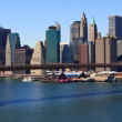 Stock Photo: Brooklyn Bridge and lower Manhattan, New York