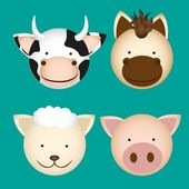 Farm animal heads — Stock Vector