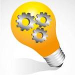 Bulb on with gears — Stock Vector