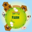 Stock Vector: Farm animals and barn