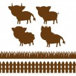 Stock Vector: Set of farm silhouettes