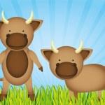 Cute cartoon bulls — Stock Vector #10218432