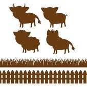 Set of farm silhouettes — Stock Vector