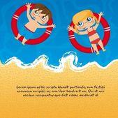 Children over sea — Stock Vector