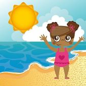 Girl in the beach — Stock Vector