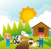 Children with animals farm — Stock Vector