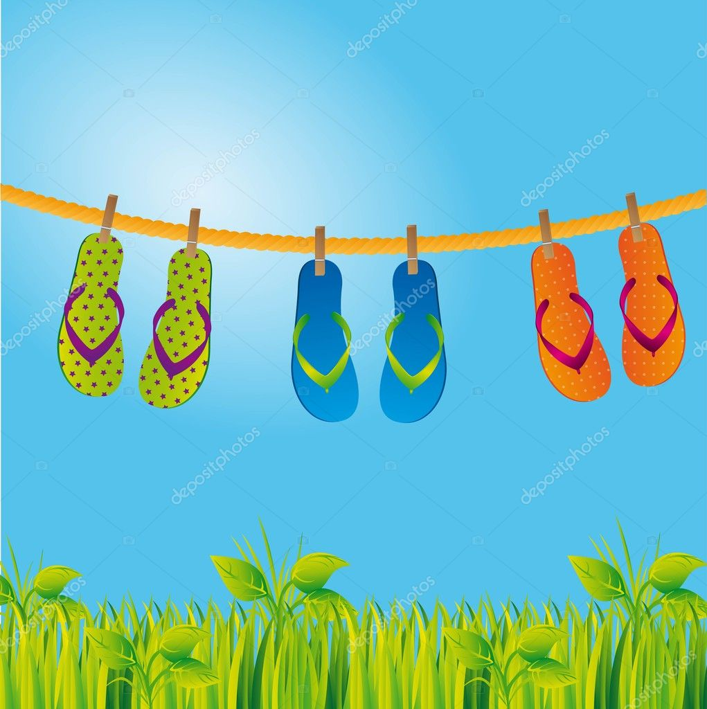 Flip flops over landscape with grass and sky. vector illustration — Stock Vector #10244599