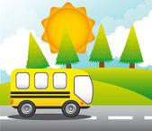 对街的巴士 — 图库矢量图片