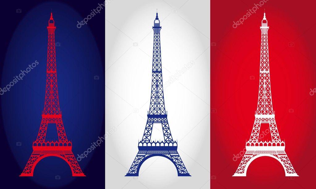在法国国旗背景的埃菲尔铁塔