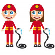 Stock Vector: Firefighters cartoons