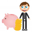 Businessman with piggy — Stock Vector