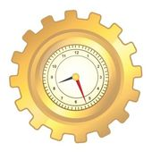 Gold gear clock — Stock Vector