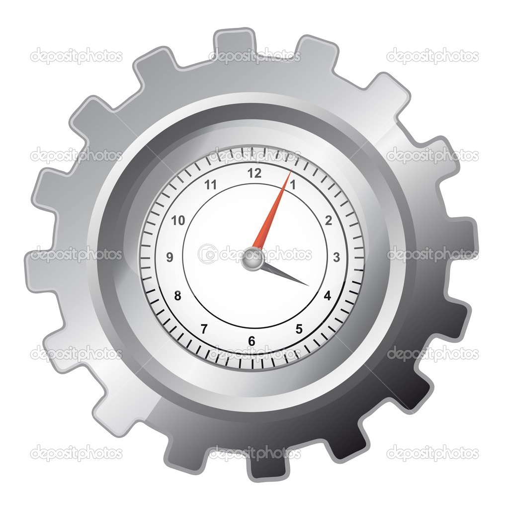 Silver gear with clock over whtite background. vector illustration — Stock Vector #7971022