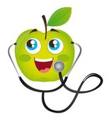 Stethoscope with apple — Stock Vector