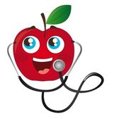 Apple with stethoscope cartoon — Stock Vector