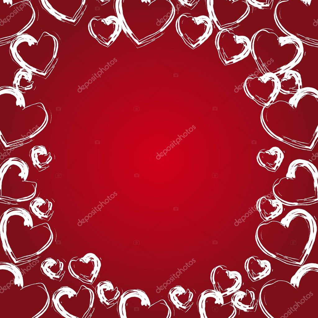 White hearts frame on red background, space to insert text or design  Stock Vector #8637078