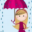 Cute girl with umbrella — Vettoriali Stock