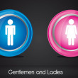 Gentlemen and ladies sign — Stock Vector