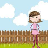Linda garota com cerca de madeira — Vetorial Stock
