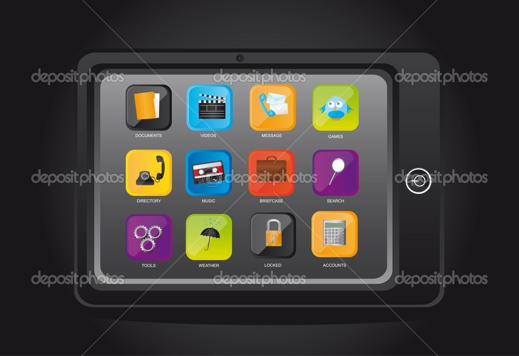 Tablet computer with icons over black background. vector — Stock Vector #8769273