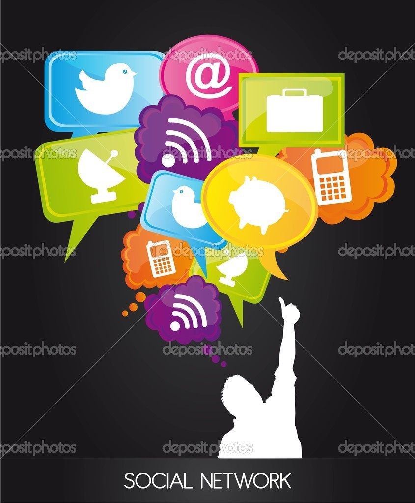 Men with  thought bubble with social network sign . vector — Stock Vector #8955389