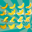 Complete set of bananas — Stock Vector