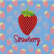 Strawberry on a background of strawberries pattern with a blue background — Imagen vectorial
