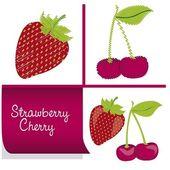 Strawberries and cherries kit — Stock Vector