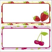 Card strawberries and cherries — Stock Vector