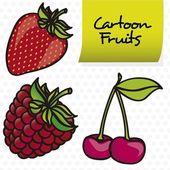 Strawberries, blackberries and cherries cartoon — Vector de stock