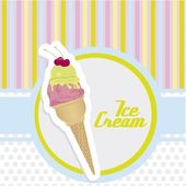 Ice cream cone sticker — Stock Vector