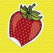 Strawberry sticker — Stock Vector