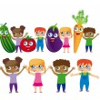 Постер, плакат: Childs with vegetables cartoons