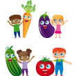 Children and vegetables — Stock Vector