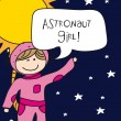 Astronaut girl — Stock Vector
