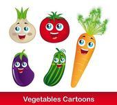 Vegetables cartoons — Stock Vector