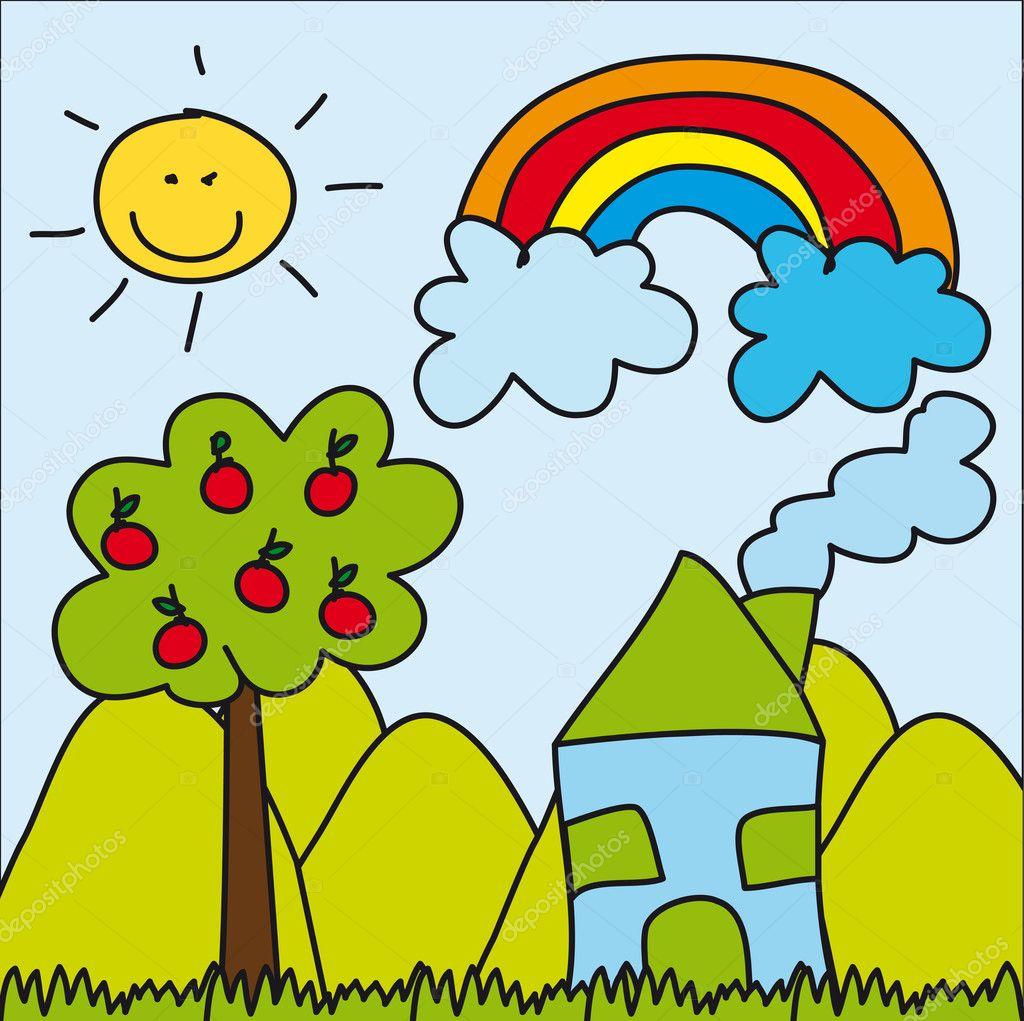 Cute Landscape Drawing Stock Vector Yupiramos 9736117