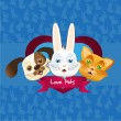 Royalty-Free Stock Vector Image: Dog, cat and bunny label