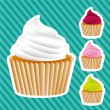 Stock Vector: Basic cupcakes