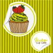 Strawberry cupcake cartoon sticker — 图库矢量图片