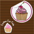 Cherry cupcake cartoon sticker — Stock Vector