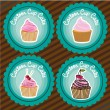 Set of labels of cupcakes — Stock Vector