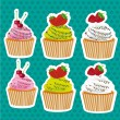 Set of stickers cupcakes — 图库矢量图片