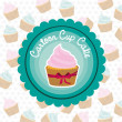 Stock Vector: Basic cupcake label
