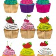 Set of six different styles cupcakes — Stock Vector
