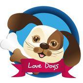 Dog label — Stock Vector