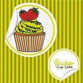 草莓蛋糕卡通贴纸 — 图库矢量图片