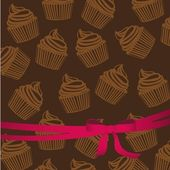 Background pattern of silhouettes of cupcakes — Stock Vector