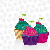 Cupcakes psychedelic — Stock Vector
