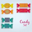 Candy set rectangular, square and oval — Vector de stock